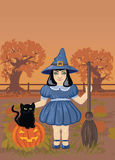 Illustration of a Cute Witch Stock Photo