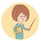 Illustration of cute woman teacher with a book and Royalty Free Stock Photo