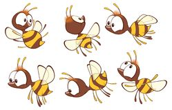 Illustration of a Cute Yellow Bee. Cartoon Character. Set various small yellow with brown bees with big eyes Royalty Free Stock Photography