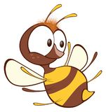 Illustration of a Cute Yellow Bee. Cartoon Character. Small it is yellow a brown bee with big eyes Stock Image
