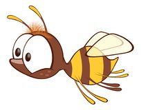 Illustration of a Cute Yellow Bee. Cartoon Character. Small it is yellow a brown bee with big eyes Stock Photography