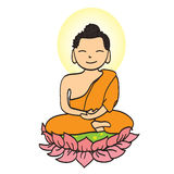 Illustration of Cute young monk cartoon Stock Images