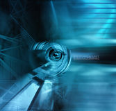 Illustration of a cyborg eye in blue tones Royalty Free Stock Photo