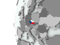 Czech republic on globe with flag Stock Image
