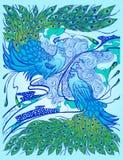 Illustration décorative avec des paons Photo libre de droits