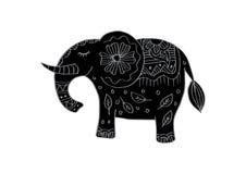 Illustration décorative d'éléphant Thème indien avec des ornements Illustration Stock