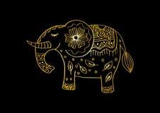 Illustration décorative d'éléphant Thème indien avec des ornements Illustration de Vecteur