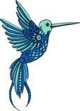 Illustration décorative de colibri de vecteur tiré par la main Dessin coloré de colibri avec la ligne ornements de griffonnage illustration stock