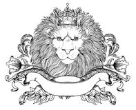 Illustration décorative de Lion Head héraldique avec la couronne royale a Photos stock
