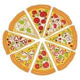 Illustration découpée en tranches savoureuse de pizza Photos libres de droits