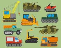 Illustration dépistée de vecteur de tracteur d'excavatrice de chenille d'isolement sur le fond Machines d'industrie du bâtiment Photographie stock libre de droits