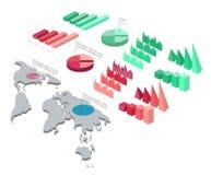 Illustration détaillée d'un ensemble isométrique d'Infographic Image libre de droits