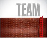 Illustration d'échelle de mur et d'équipe Image stock