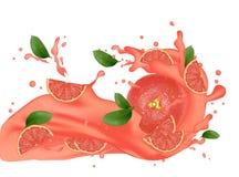 illustration d'éclaboussure de pamplemousse Éclaboussement du jus Fallin de cocktail illustration libre de droits