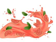 illustration d'éclaboussure de pamplemousse Éclaboussement du jus Fallin de cocktail illustration stock