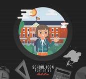 Illustration d'école sur la ligne fond de papier de carnet Icône d'éducation de vecteur de façade d'université Images stock