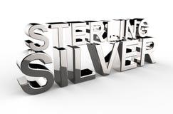 Illustration 3d écrite d'argent sterling sur un fond blanc illustration libre de droits