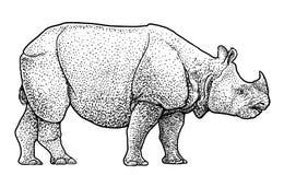 Illustration d'éléphant asiatique, dessin, gravure, encre, schéma, illustration vectorIndian de rhinocéros, dessin, gravure, encr illustration stock