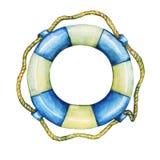 Illustration d'équipement nautique de vieille bouée de sauvetage Photographie stock