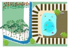Illustration d'étang de voie de train Images stock