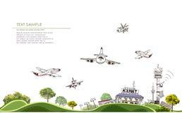 Illustration d'aéroport, collection de ville Images libres de droits