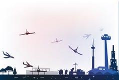 Illustration d'aéroport de ville Photos stock