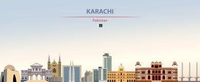 Illustration d'abrégé sur vecteur d'horizon de ville de Karachi sur le beau fond de jour de gradient coloré illustration stock