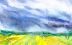Illustration d'abr?g? sur aquarelle d'un champ russe avec une for?t ? l'arri?re-plan illustration de vecteur