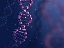 Illustration 3d abstrakten DNA-Helixes im biologischen blauen Raum Stockfotos
