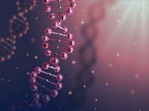 Illustration 3d abstrakten DNA-Helixes im roten biologischen Raum Lizenzfreie Stockbilder