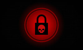 Illustration d'actions d'écran d'ordinateur d'alerte de Ransomware Images stock