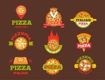 Illustration d'aliments de préparation rapide de service de restaurant de pizzeria d'insigne de logo de vecteur de pizza de la li illustration de vecteur