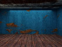 Illustration 3D alten verlassenen Raumes Hintergrundods lizenzfreie stockbilder