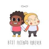 Illustration d'amitié de fille (carte de voeux) avec deux filles et symboles d'infini Meilleurs amis pour toujours Image libre de droits