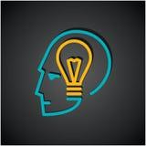Illustration d'ampoule dans la tête humaine Image stock