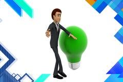 illustration d'ampoule de vert d'homme des affaires 3d Images libres de droits