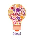 Illustration d'ampoule faite de roues dentées colorées Image libre de droits