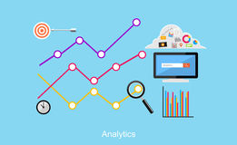 Illustration d'Analytics Concepts plats d'illustration de conception pour des affaires Image stock