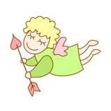 Illustration d'ange de vol de bande dessinée avec la flèche du cupidon illustration libre de droits