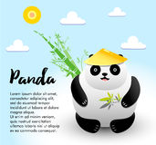 Illustration d'animal de vecteur Ours panda mangeant le bambou Conception de personnages Photos stock