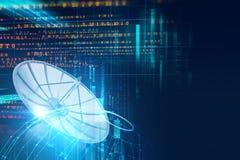 illustration 3d d'antenne parabolique sur le backgr abstrait de technologie Photos libres de droits