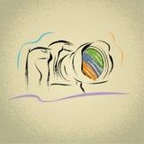 Appareil-photo de DSLR avec le travail au pinceau Photos libres de droits