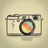 Appareil-photo de télémètre avec le travail au pinceau Photo stock