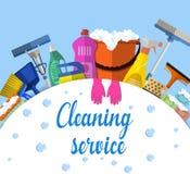 Illustration d'appartement service compris de nettoyage Images stock