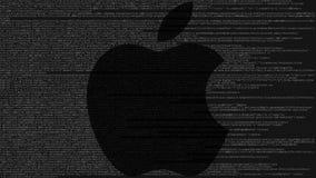 Illustration d'Apple Inc logo fait en code source sur l'écran d'ordinateur Rendu 3D éditorial Photographie stock