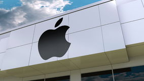 Illustration d'Apple Inc logo sur la façade moderne de bâtiment Rendu 3D éditorial Image libre de droits