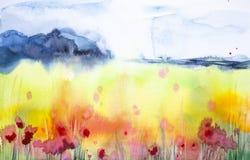 Illustration d'aquarelle d'Astract d'un beau champ de pavot avec une forêt à l'arrière-plan illustration libre de droits