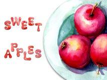 Illustration d'aquarelle avec l'image des pommes d'un plat Concept pour le march? d'agriculteurs, produits naturels, v?g?tarisme illustration de vecteur