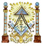 Illustration d'aquarelle avec le franc-maçon et les symboles mystérieux d'isolement sur le blanc illustration libre de droits