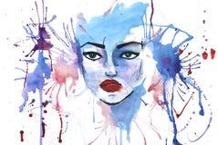 Illustration d'aquarelle avec le visage de femme là-dessus Photos libres de droits